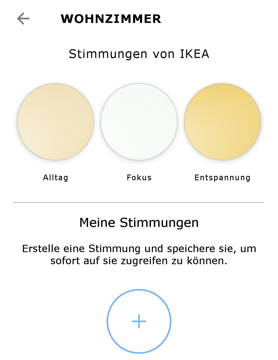 Screenshot aus der Tradfri-App